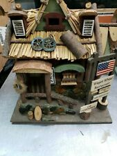 Rustic Country Wooden Decorative Bird House - Garden Decor -Wagon Wheel Restaura