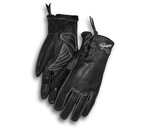Harley Davidson Women's Swingback Distressed Full-Finger Gloves Free Shipping