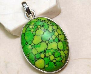 Natural Green Turquoise 925 Solid Sterling Silver Pendant Jewelry NW3-7