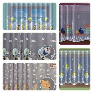 KIDS PRINTED NET CURTAIN READY MADE DISNEY CHARACTERS WINDOWS DECORATIONS