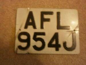 GREAT BRITAIN ENGLAND PETERBOROUGH 1970 OLDER MOPED #AFL 954J RARE LICENSE PLATE