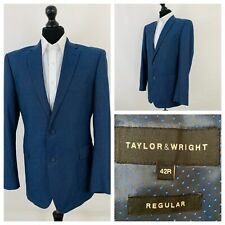 Taylor & Wright Mens Suit Jacket Blazer Chest 42 Blue Single Breasted GR544