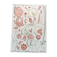 1 stück Rosa Cartoon Katze Kaninchen Blume Wandaufkleber Für Babys Kinder R JS