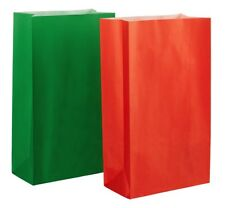 20 SMALL CHRISTMAS PAPER PARTY BAGS (10 Red/10 Green) BISCUIT GIFT LOOT TREAT