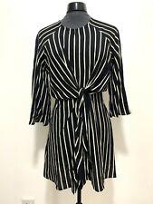 NWT Topshop Black White Stripe 3/4 Sleeve Tie Wrap Flare Mini Tunic Dress UK 8
