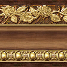 Brown Gold Wallpaper Borders Self Adhesive Flower Moulding Scroll Design Ideas