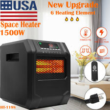 1500W Quartz Space Heater 6-element Infrared Electric Safe LED 2nd Generation US