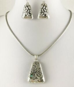 Beautiful Silver Filigree Abalone Inlay Necklace Earrings Set