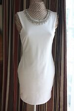 Jane Norman size 14 Cream sleeveless stretchy above knee dress beaded worn once