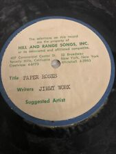 New listing Rare Jimmy Work Acetate Record. Hill and Range Songs Inc. With org sheet music.