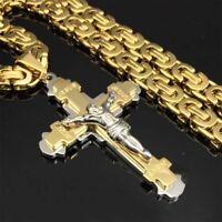 "Crucifix Jesus Cross Necklace Stainless Steel Christ Pendant Gold Byzantine 24"""