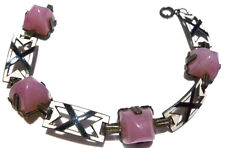 GREAT ART DECO STERLING SILVER BLACK & WHITE ENAMEL ROSE QUARTZ BRACELET 7.25""