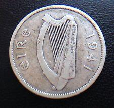 IRELAND 1941 HALF CROWN COIN .750 SILVER EIRE IRISH HORSE GAELIC HARP