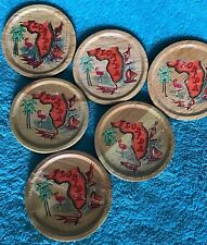 6 Vintage Wooden Drink Coasters Florida Souvenir Made In Taiwan Worn