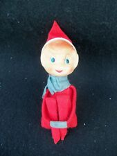 "Vintage Pixie Elf Knee Hugger!  RED FELT!  POINTY EARS!  6"" SITTING!"