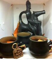 Handcraft Smoked Ceramic Hellenic Caucasus Ceremonial Pitcher/Cups Man on Horse