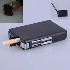 Lighter Black Windproof Refillable Butane Gas Cigarette Lighter Cigarette Case