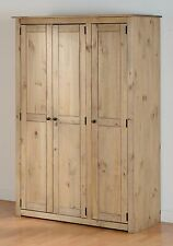 Seconique Panama Natural Wax Pine 3 Door Wardrobe
