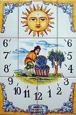 A SUNDIAL 8 tiles handpainted ceramic , high quality, vineyard, grape harvesting