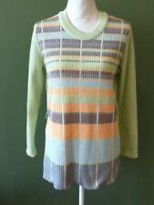 Medium True Vtg 70s Neon Mint Green Ribbed Striped Long Sleeve Top Shirt Tunic