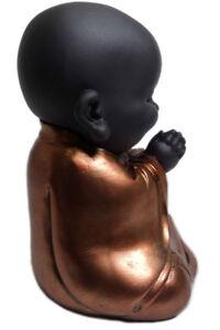 Black & Rose Gold Child Buddha Sitting Gift Ornament Figurine Meditating Praying