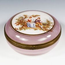 Vintage to antique French lilac pink glass trinked powder hinged Box court scene
