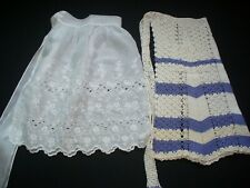 Lot of 2 Vintage Half Aprons 1 Crocheted 1 Eyelet Lace GC