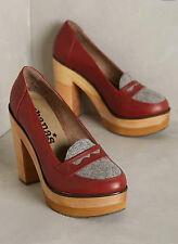 Nib Anthropologie Cubanas Wave Loafer Heels Block Platform Sz 7 38 Wine Red