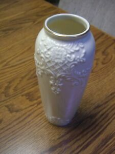 """Formalities by Baum Bros. Ivory Sculpted Ceramic Vase/Gold Trim/8"""" Tall"""
