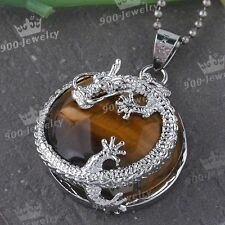 Natural Tigers Eye Gemstone Silver Dragon Wrap Round Coin Healing Bead Pendant