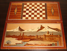 Nardi Nardy ARMENIAN BACKGAMMON BOARD GAME Inlaid Mosaic HANDMADE Wood NEW OOAK