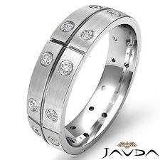 Eternity Wedding Band Round Bezel Set Diamond Mens Dome Ring Platinum 0.26Ct