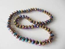 72 Piezas X 8 Mm De Corte de cristal de cristal Rondelle bolas: AB Multi Color