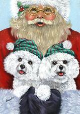 """Precious Pet Garden Flag - Bichon Frise Santa 12"""" x 18"""" ~ Charity!"""