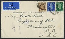 Uk Gb 1941 Wartime Cover From The President Roosevelt Private Collection Sent