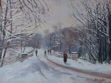 Winter Walk in Surrey Oil on Board Chelsea Art Society Label on Verso