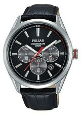 Pulsar Mens Chrono Black Leather Strap Watch PT3729X1 RRP £99.95