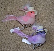 BIRD CLIP ORNAMENT, SET OF 2, NEW, PINK, PURPLE, FEATHERS, BIRDS WITH HATS