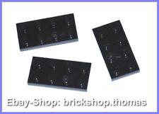 Lego 3 x Plate (2 x 4) - 3020 Black - Black Plate - New / New