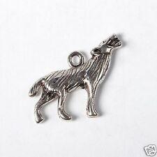 5 Tibetan Silver 3d Wolf Pendant Charms