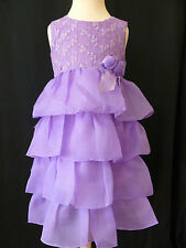 GIRLS PURPLE PARTY DRESS WITH EMBROIDERED FLOWER AGE 6 - 7 YEARS UK NEW
