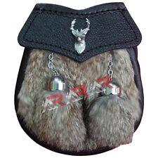 "Boys Sporran Stage Head Badge Brown Fur Free Leather Belt & Chain 28"" 2 Tassels"