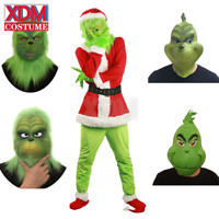 Santa Grinch Mask Cosplay Costume How the Grinch Stole Christmas Suit Halloween