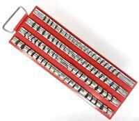 "80 Socket Tray Rack 1/4"", 3/8"", 1/2"" inch Snap Rail Tool Set Organizer USA Ship"