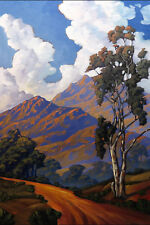 LARGE Wm HAWKINS Western California Mountains American Art   Giclee Canvas Print