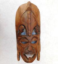 Maschera Tribale Vintage in legno intagliati a mano Piastra a parete per bambini TESTE E TATUAGGI