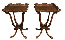 Pair of 1930 french American Made Mahogany Carved Side End Tables
