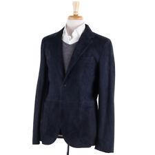 NWT $3895 BOGLIOLI Navy Blue Matte Leather Blazer Slim L Eu 52 (fits M)