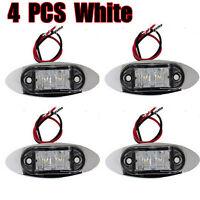 4x WHITE LED LIGHT SIDE MARKER CLEARANCE LIGHT LAMP VAN TRAILER TRUCK 12V 24V