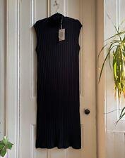 Monki ASOS High Neck Rib Black Jersey Urban Stretch Slit Midi Maxi Long Dress M